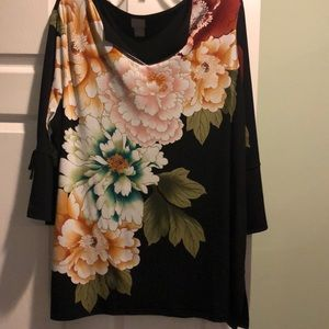 Gorgeous,  Chicos, size  4(18), Black,  print top!